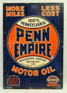 Penn Empire Motor Oil Tin Sign