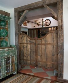 Decorating With Old Barn Doors | ... eBay, the old Irish pub saloon doors are held in place by barn wood