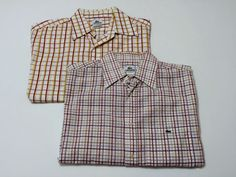 LOT OF 2 Lacoste 44 Short Sleeve Casual Plaid Button Down Shirts Red Yellow Blue #Lacoste #ButtonFront