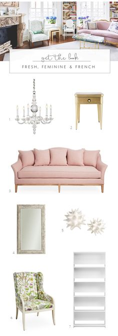 get the look of this fresh, feminine & french living room | coco kelley
