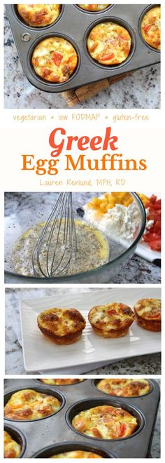 Healthy & low fodmap Greek Egg Muffins. Quick and easy to make, and perfect for lunches all week long! Vegetarian and gluten-free.