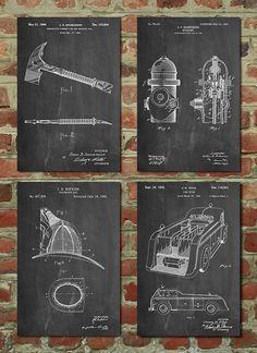 Firefighter Patent Poster Group of 4, Firefighter Wife, Fireman Gift, Fireman Nursery, Fireman Axe, Firefighter Helmet, Firetruck, Hydrant