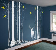 Nursery wall decal deer birds wall sticke animal wall decals children office wall mural vinyl - deer in Forest   Z170 cuma