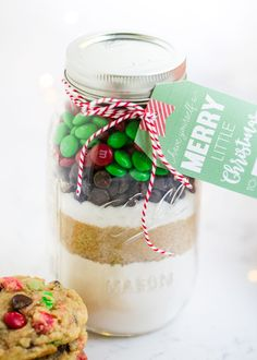 Layered cookie mix in a jar recipe that makes the perfect homemade Christmas gifts. These are always a big hit! Free printable tag and instructions included. This post is sponsored by Kroger MY OTHER RECIPES I've shared plenty of mason jar gifts before, but thismason jar cookie mix has to be my sweetest one yet.Now …