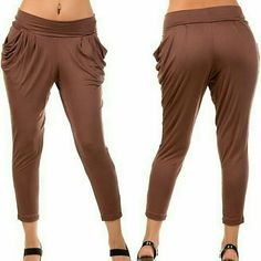 """HP New sexy harem pants legggings trendy Sexy Comfortable and These very Hot looking yogi inspired HAREM leggings/pants are all the rage this season. They feature a wide flat waist band with gathered hip pull on draped side pockets So comfortable stretchy.  S=Waist=""""13""""-16"""",  back Rise=13"""",front rise=9"""",    Inseam=24"""",Total Length=33""""  M=Waist=14""""-17"""",   back Rise=14"""",front rise=10"""",  Inseam=24"""",Total Length=34""""  L=Waist=15'-18"""",   back Rise=15"""",front rise=11"""",   Inseam-24"""",Total Length=35""""…"""