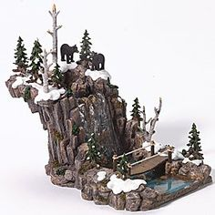 christmas village Ideas for diy christmas village waterfall Diy Christmas Village Accessories, Christmas Tree Village Display, Halloween Village Display, Lemax Christmas Village, Christmas Town, Christmas Villages, Christmas Holidays, Christmas Crafts, Christmas Decorations