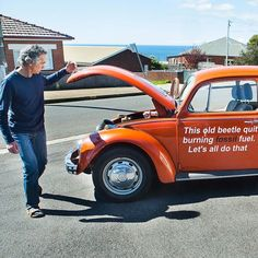 """Burnie's electric VW Beetle is doing its bit for the planet (bumper sticker: """"There is no Plan(et) B"""") #electriccars #EV #EVs #green #cars #Deals #cleanair #ElectricCar"""