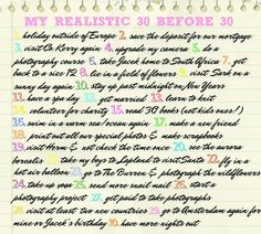 My Realistic 30 Before 30 ♥