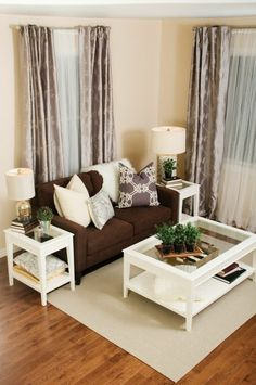 Living Room Curtains : Elegant Brown Sofa