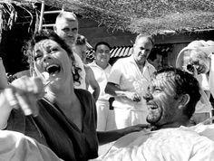"Ava Gardner and Richard Burton on the set of ""Night of the Iguana"" (1963)."