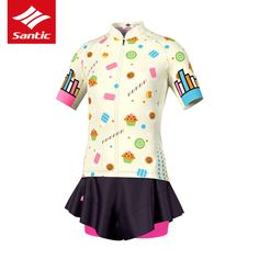 Santic Cycling Jersey Kids Girl Short Skirt Ropa Ciclismo Kids Padded  Cycling Clothing Reflective MTB Road e6a90f594