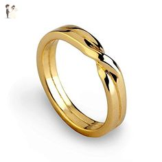 18K Yellow Gold Plated Sterling Silver, His and Hers Love Knot, Wedding Band Ring, Size 4 to 13 - Wedding and engagement rings (*Amazon Partner-Link)