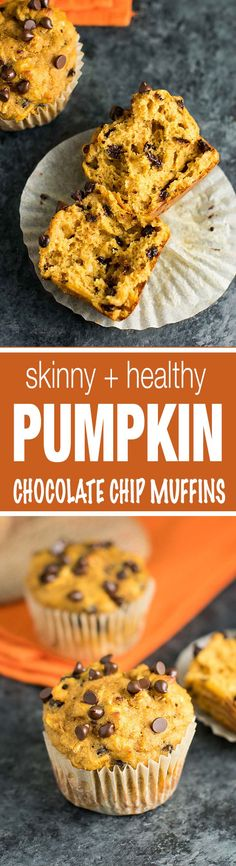 Skinny Pumpkin Chocolate Chip Muffins made with whole wheat flour and greek yogurt. A healthy fall treat with no oil and lighter ingredients!