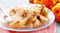 Omena-kaurapaistos ja vaniljakastike