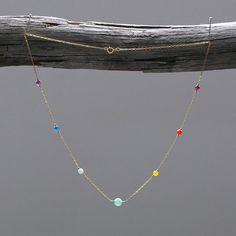Rainbow SHANTI Chakra Yoga necklace delicate gold jewelry Aura alignment Necklace 14kt Gold Yoga Chakras healing gemstones jewelry 7 Chakras