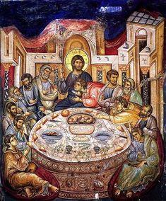 Byzantine Iconography - Jesus Christ Last Supper / Тайная Вечеря Religious Images, Religious Icons, Religious Art, Byzantine Icons, Byzantine Art, Religion, Fresco, Russian Icons, Last Supper