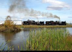 The two narrow gauge Garratt's steam locomotives NGG13 number 49 and NGG 16 number 153 are double heading a freight train on the Sandstone Estates Railway.