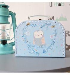 Valisette en carton bleue hibou (S)
