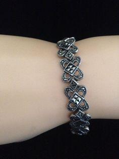 Vintage  925 Sterling Silver Marcasite Bracelet