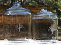 Set of 2 Hand sand tree etched glass jars with lid