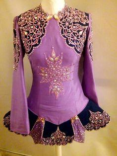 Classy Purple AveCeltic Irish Dance Dress Solo Costume For Sale