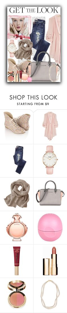"""""""Get The Look: Winter Wonderland"""" by amira ❤ liked on Polyvore featuring Forever 21, Juicy Couture, Elizabeth and James, CLUSE, Paco Rabanne, River Island, Too Faced Cosmetics, Clarins, Ciaté and STELLA McCARTNEY"""