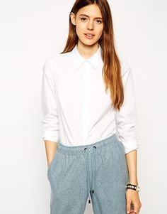 ASOS Long Sleeve Shirt with Grosgrain detail collar and cuff
