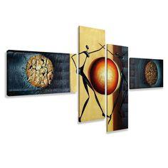 Cuadros en Lienzo 195 x 80 cm Nr. 6807 abstracto enmarcado y listo para colgar, calidad de la marca Visario