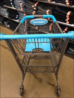 Old Navy Shopping Cart Branding in Bright Blue