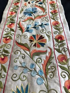 Your place to buy and sell all things handmade Embroidery Letters, Silk Ribbon Embroidery, Hand Embroidery Designs, Chain Stitch, Cross Stitch, Oriental Trends, Designer Bed Sheets, Hanging Towels, Christmas Ribbon