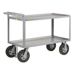 Shelf Truck, 2 Shelf, 60x30, w/Floor Lock by Little Giant. $684.36. Shelf Truck, Lip Up Shelves, Load Capacity 1500 lb., Welded Steel Construction, Gauge Thickness 12, Powder Coat Finish, Color Gray, Overall Length 66 In., Overall Width 30 In., Overall Height 39 In., Number of Shelves 2, Caster Size 10 In., Caster Type 2 Rigid, 2 Swivel, Caster Material Cushion Rubber, Capacity per Shelf 1700 lb., Distance Between Shelves 18 In., Shelf Length 60 In., Shelf Width...