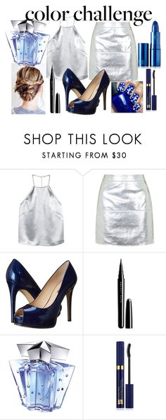 """""""Rock This Look: Blue and Silver"""" by marianela2002 on Polyvore featuring moda, H&M, Topshop, GUESS, Marc Jacobs, Thierry Mugler, Estée Lauder, Lipstick Queen, contest y colorchallenge"""