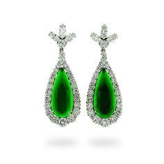 Emerald Green CZ Teardrop Earrings