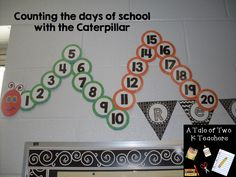 Counting the days of school with the caterpillar