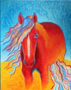 Horses in art Acrylic Painting On Canvas Horse by JodiBauter, $95.00