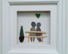 Wall Art, Personalised Family Pebble Picture, Pebble Art, Picture Frames, Beach Decor, Anniversary pebble, Cornish Art,