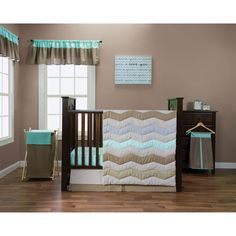 Create a cohesive look in your nursery with this pretty five-piece crib bedding set. A mixture of patterns and colors that perfectly complement one another results in a lovely appearance, while the cotton materials ensure your baby's comfort.