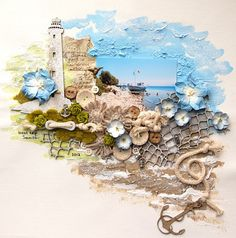 This is gorgeous! The background was painted with acrylic paints and gesso. Overheated some area's to get more texture. Made the brown flowers with small ribbon. The lighthouse and fish net were given a little coat with gesso. Beach Scrapbook Layouts, Travel Scrapbook, Scrapbooking Layouts, Scrapbook Expo, Wedding Scrapbook, Mixed Media Collage, Mixed Media Canvas, Collage Art, Arte Bar