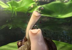 """Epic the movie Slug and Snail Duo  Mud and Grub!! Epic movie slug quote """"There's a big sack of shut your flat face over there, why don't you go pick it up"""" Loved it!!"""