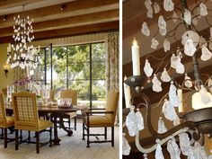 Great Light Fixture and wonderful embroidered curtains fabric from London...