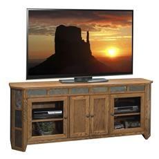 """Legends Furniture OC1256.GDO Oak Creek 72"""" Angled TV Console in Golden Oak"""
