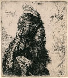 Rembrandt Harmenszoon van Rijn, The Third Oriental Head, Etching on paper. Rembrandt Etchings, Rembrandt Drawings, Etching Prints, Dutch Painters, Vintage Wall Art, Gravure, Les Oeuvres, Art History, Printmaking