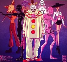 The 7 seasons together by Arturo Navarro. American Horror Story Memes, Evil Clowns, Fanart, Film Serie, Scary Movies, Horror Stories, Movies Showing, Netflix, Sketches