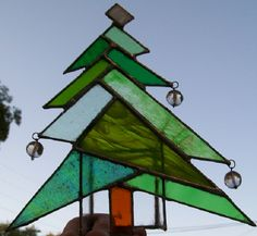 stained glass Christmas tree candle holder made by Susan Newton of Fresno,CA