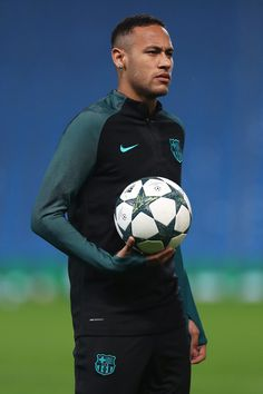Neymar of Barcelona looks on during a training session ahead of the UEFA Champions League match between Manchester City and Barcelona at the City Football Academy on October 2016 in Manchester, England. - 44 of 84 Neymar Jr, Neymar Football, Volleyball Shirts, Volleyball Pictures, Volleyball Setter, Softball Pictures, Cheer Pictures, Lionel Messi, Very Short Hair Men
