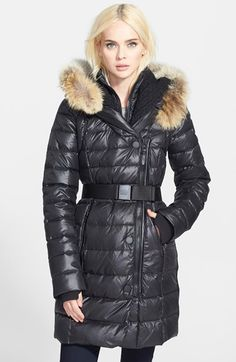 Rud by Rudsak 'Joannie' Belted Puffer Coat with Genuine Coyote Fur Trimmed Hood available at #Nordstrom