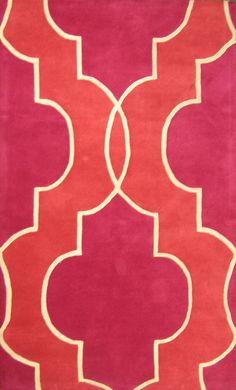 Patterned Fuscia/Gray Floor Rug