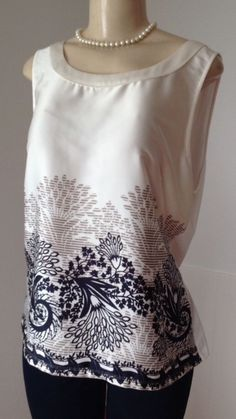 Ann Taylor XL Cream Multi Color Floral Print Stretch Tank Shell Career EUC | eBay
