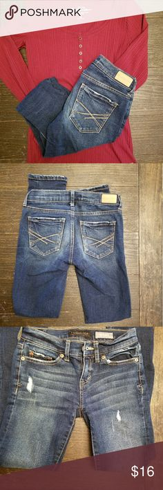 Size 000 aeropostale jeans Worn twice- these trendy jeans still have lots of fun left in them. Nice distressed spots make them a great edition to your next outfit. Aeropostale size 000 it says regular on tag but skinny on the inside waistline. Aeropostale Jeans