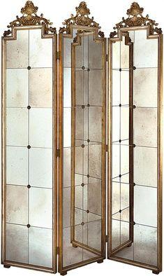 002 4 Panel Half Mirror Bedroom Screen Biombos de tela